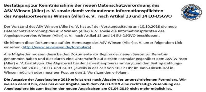 Neue Datenschutzverordnung des ASV Winsen (Aller) e. V.